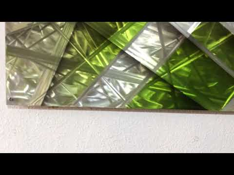 Silver & Green Aluminium Metal Wall Art Picture Modern Contemporary Home Decor