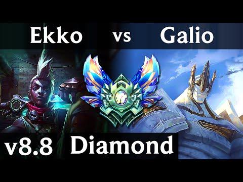 EKKO vs GALIO (MID) ~ Pentakill, Legendary, KDA 15/2/10 ~ Korea Diamond ~ Patch 8.8