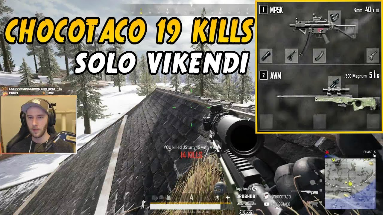 CHOCOTACO SOLO 19 KILLS GAME ON VIKENDI MP5 + AWM | PLAYERUNKNOWN'S BATTLEGROUNDS (5/27/19) thumbnail