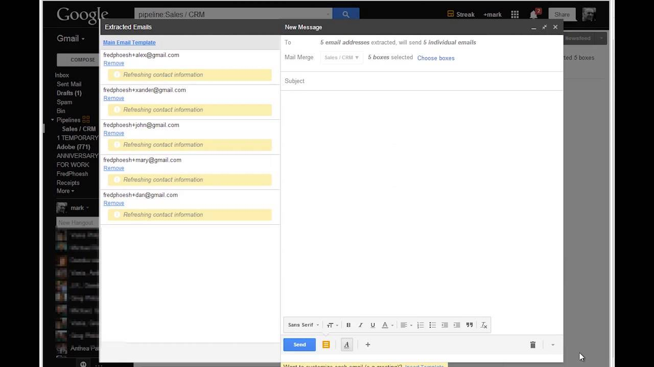 Streak How to do a Mail Merge on Gmail with Steak CRM - YouTube
