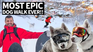 Best Dog Walk Ever! Ken Block's Epic Mountain Hike to Snowboard With His Dogs