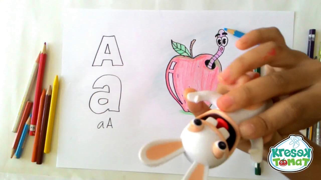 mewarnai gambar apel dimakan ulat