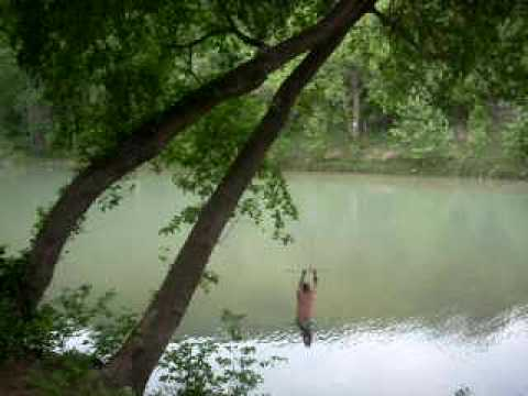 Rope Swing At Mountain Breeze Camp Guadalupe River Youtube