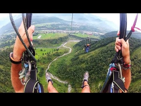 ZIP-FLYER IN NEPAL DROPS AT 100 MILES PER HOUR | POKHARA NEPAL