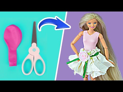 👗 DIY Barbie Dresses With Balloons Easy No Sew Clothes For Barbies   BARBIE DOLL HACKS And CRAFTS