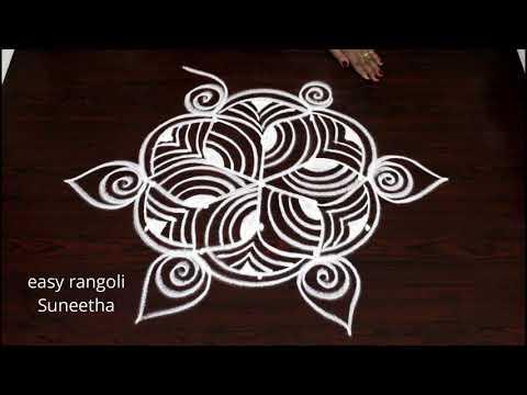 Latest Friday padi kolam designs by easy rangoli Suneetha || simple geethala muggulu with dots