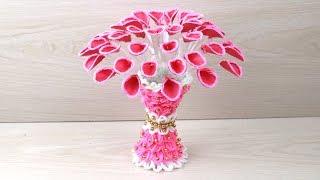 Paper/Plastic Bottle Flower Vase - woolen craft - Bottle Recycle Flower Vase - Easy Home Decor idea