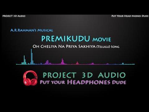 Oh Cheliya Na Priya Sakhiya 3D Audio Song USE HEADPHONES  PREMIKUDU  Project 3D Audio