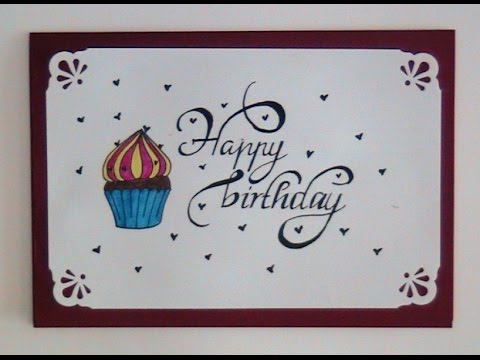 how to write cursive fancy letters  happy birthday card, Birthday card