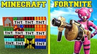 MINECRAFT VS FORTNITE: EXPLOSIVES, TNT, & DESTRUCTION!!!