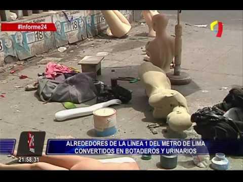 Basura y desechos en la línea 1 del Metro de Lima