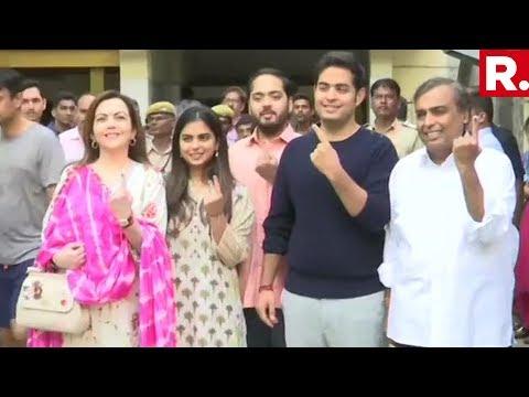 Mukesh Ambani And Wife Nita Ambani Cast Their Vote Along With Daughter Isha And Son Akash In Mumbai