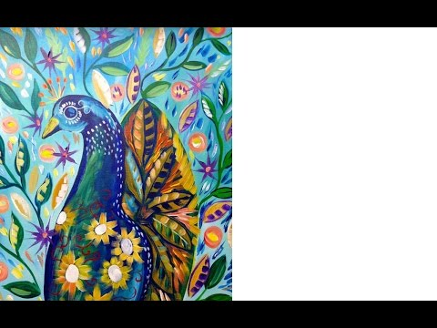 Live #2 Peacock and Flowers and Flowers abstract acrylic tutorial art lesson