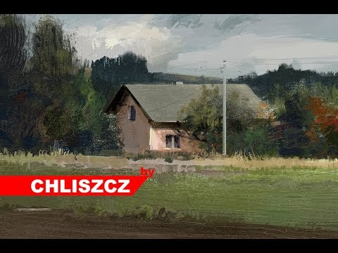 Photoshop CC digital painting –  Rural landscape with a house