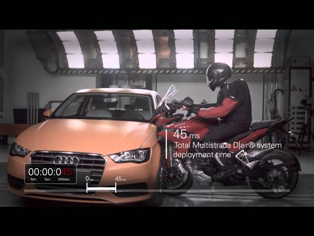 Ducati Multistrada D Air   with D Air airbag system   Crash test video