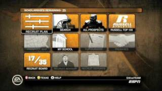 NCAA Football 10 - How to Set-up your Recruiting Board