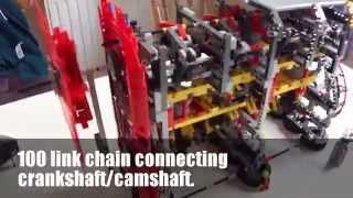 Large Lego Technic Engine 4 cylinder 8 valve Working MOC