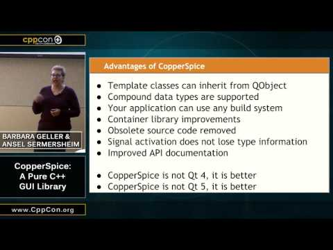 "CppCon 2015: Barbara Geller & Ansel Sermersheim ""CopperSpice: A Pure C++ GUI Library"""
