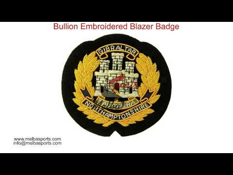 Handmade Bullion Wire Blazer Badges / Bullion Embroidered Blazer Badge
