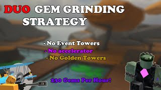 DUO GEM GRINDING STRATEGY, GET TO WAVE 41 EASILY || Tower Defense Simulator