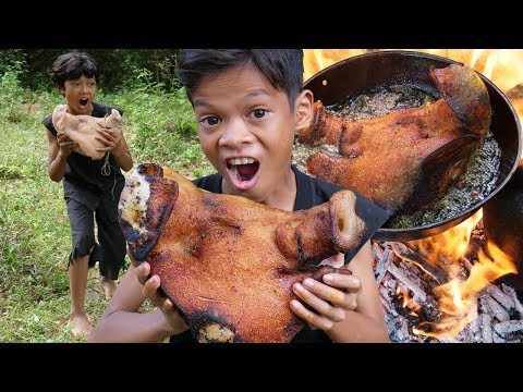 Survival Skills Primitive - Cooking pig head and eating delicious ep0010
