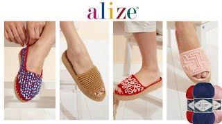 Tığ İşi Şık Terlik Yapımı -  Chic Crochet Sandal Tutorial w/ Alize Diva Plus