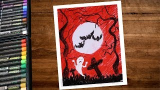 Halloween Drawing With Oil Pastel Step By Step - Horror Night Drawing - Haunted Place Drawing