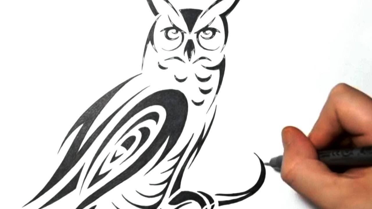 4a33bca03 How To Draw A Tribal Owl Tattoo Design Owl Svg Jshcreates   GEMPI.GA