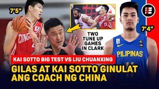 """GILAS GINULAT ANG COACH NG CHINA, 7'4"""" KAI SOTTO VS 7'5"""" LIU CHUANXING SA CLARK TUNE UP GAME"""