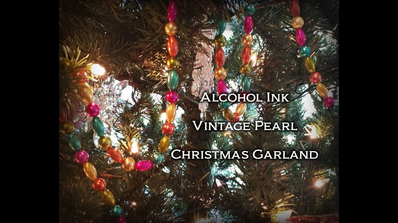 Alcohol Ink Dyed Vintage Pearl Christmas Tree Garland