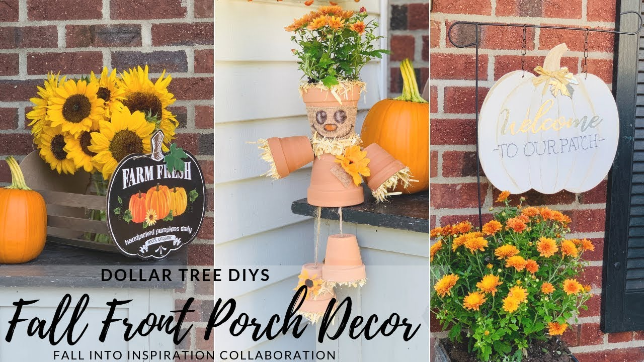 Diy Dollar Tree Fall Front Porch Decorpumpkin And Scarecrow Diys