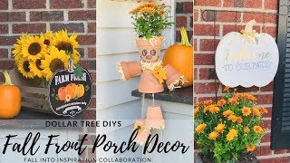 DIY Dollar Tree Fall Front Porch Decor|Pumpkin and Scarecrow DIYs