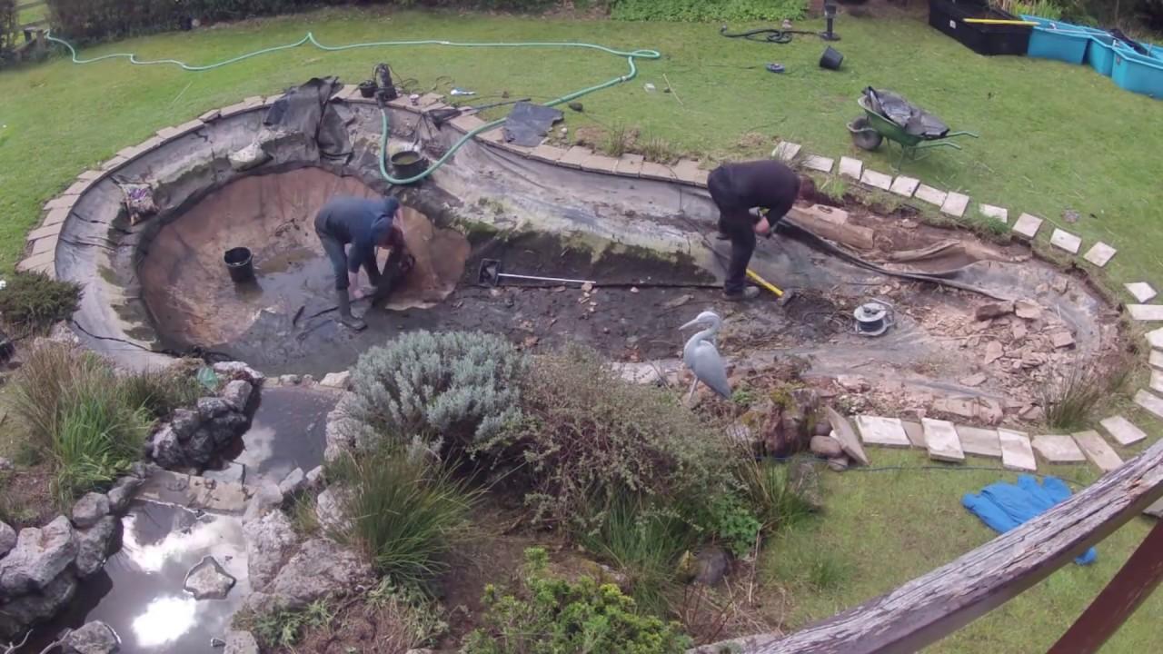 Garden koi pond renovation timelapse youtube for Koi pond videos