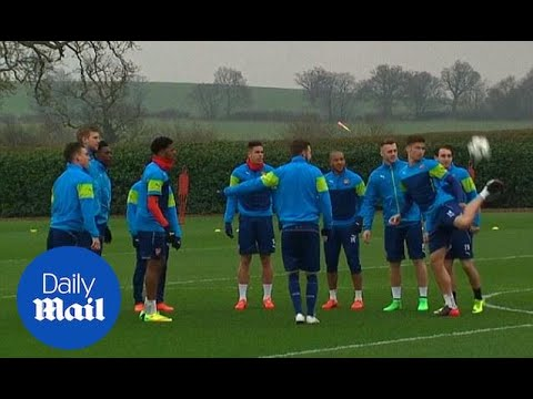 Arsenal show off some skills as the prepare for Monaco clash - Daily Mail