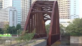 豊洲側からから見たノスタルジックな旧東京都港湾局専用貨物線の晴海橋梁