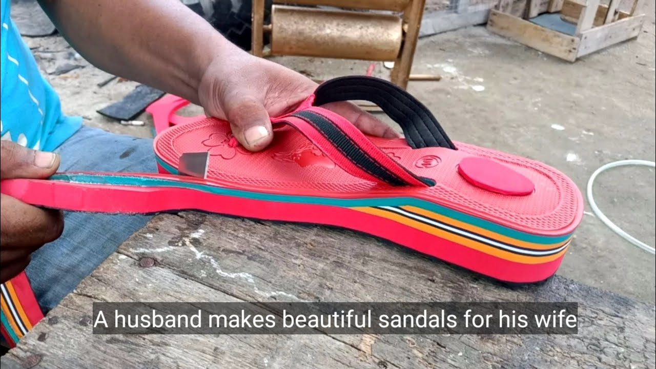 A husband makes beautiful sandals for his wife