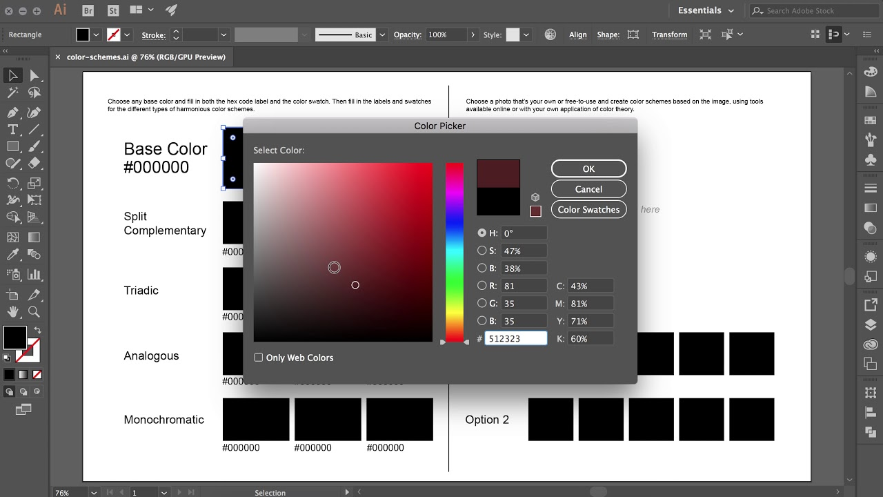 How to use Hex Codes in Illustrator