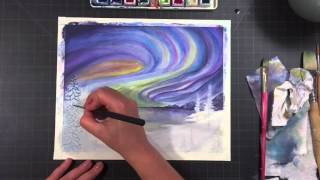 Aurora Borealis Watercolor Illustration Timelapse