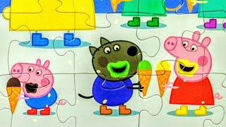 Пеппа и мороженое - Собираем пазлы для детей Peppa pig | Dasha Kids