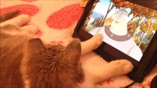 Кошка смотрит мультик Три богатыря I ЛапУшки Котейки