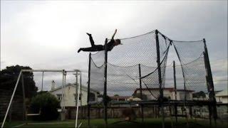 Crazy Swanton Bomb off swing into trampoline!
