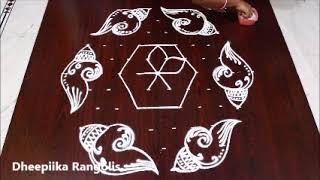 easy shangu lotus kolam with 11 dots* varalakshmi vratham special muggu * rangoli for lakshmi pooja