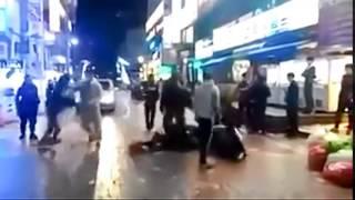 韓国人が道端で大ゲンカ.