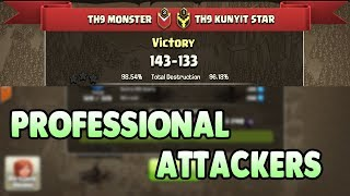 Town Hall 9 ( TH9 ) PROFESSIONAL ATTACKERS   New 3 Star War Attack Strategies 2017   Clash Of Clans