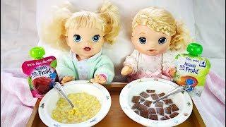 Куклы Пупсики ЗАВТРАК В ПОСТЕЛЬ  Мультик Для детей Девочки Беби Элайв Кушают Как мама