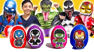 Venom Marvel Heroes Playdoh surprise eggs iron man hulk, spiderman   venom kids Compilation toys