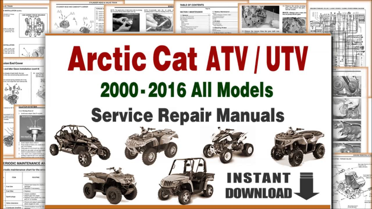 download arctic cat atv utv all models service repair manuals pdf