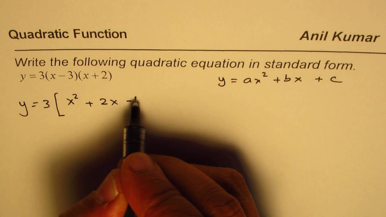 intercept form to standard form quadratic  Convert Quadratic Equation From Intercept to Standard form