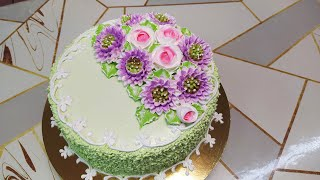 Торт паутинка с новыми хризантемами Торт в разрезе