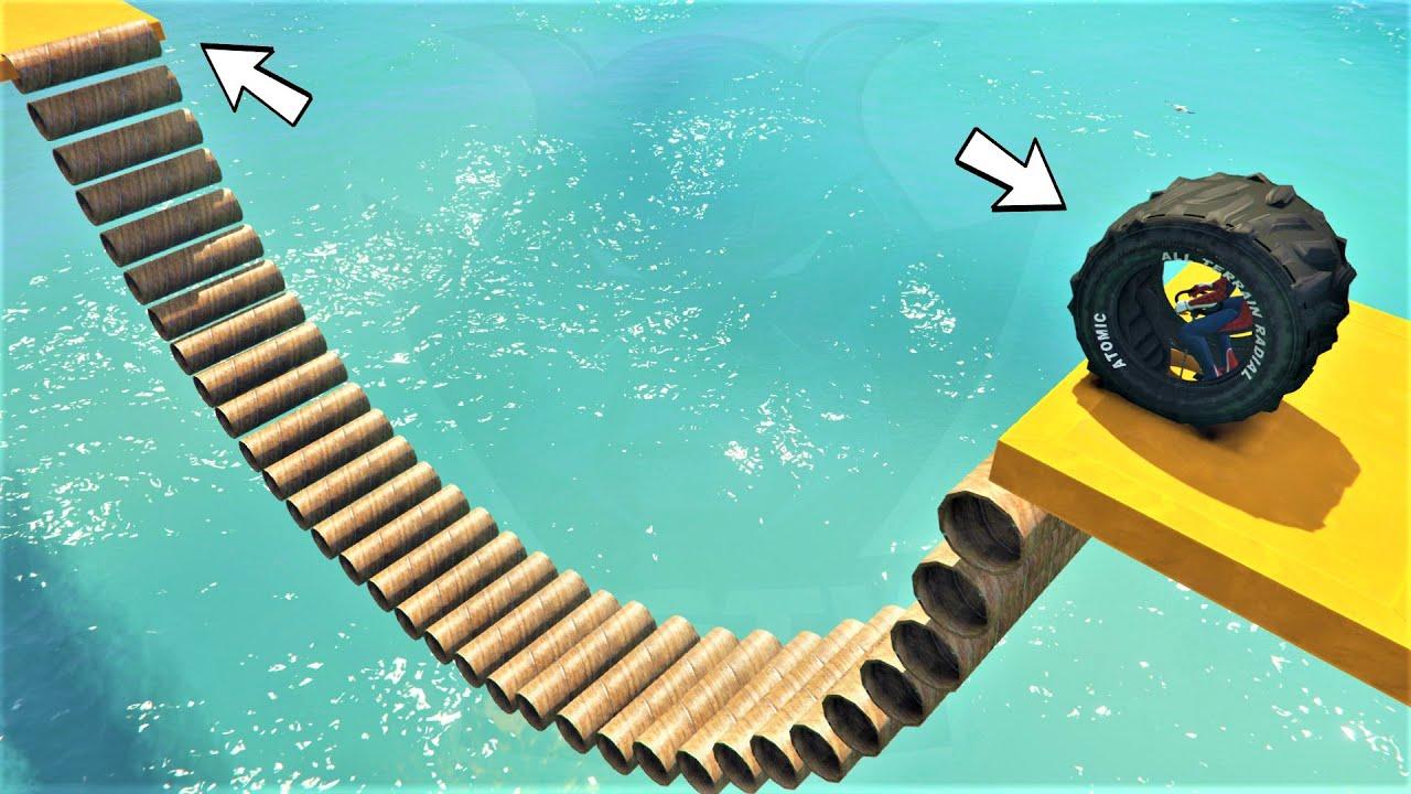 باركور العجلة العملاقة زحليقة الأنابيب 🐸 GTA 5 - funny tire parkour pipe slide